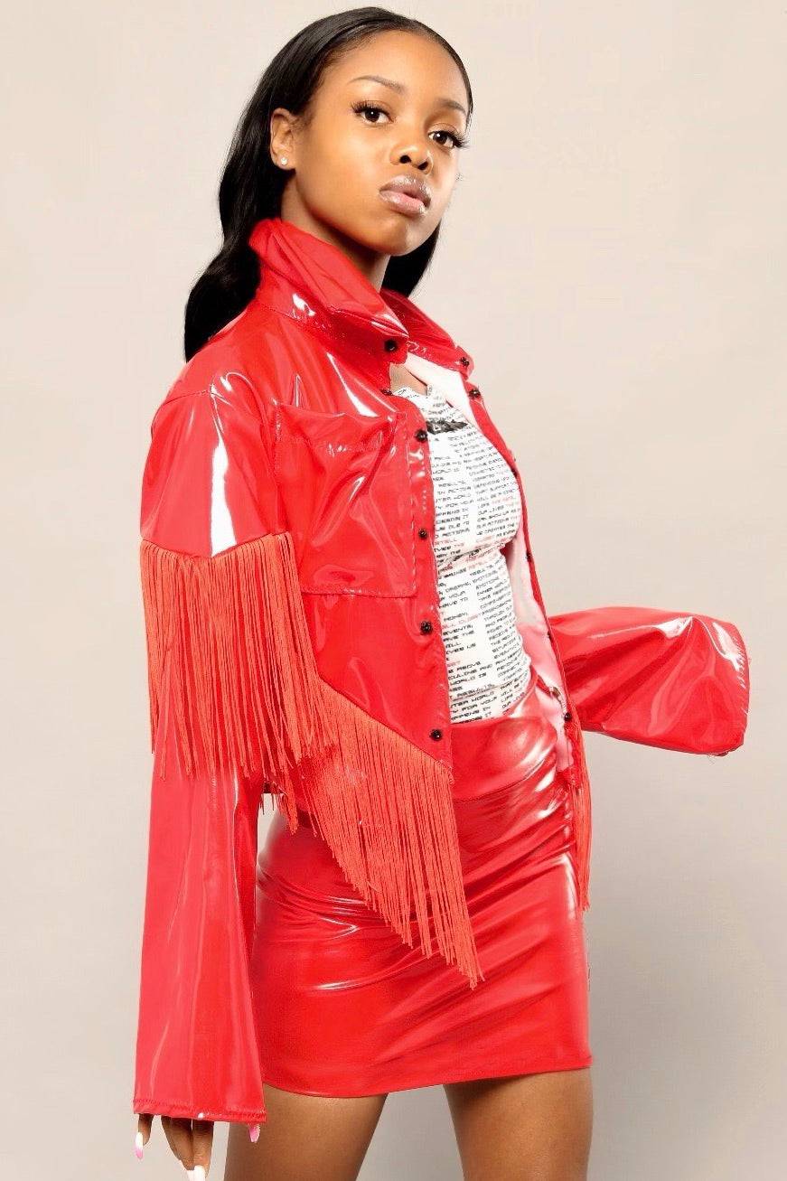 DÉJÀ VU VINYL FRINGE JACKET - RED