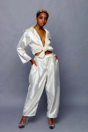 Ivory Satin Trousers