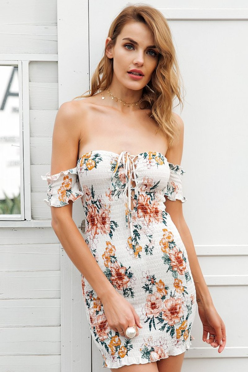 Days of Our Lives Off Shoulder Floral Mini Dress