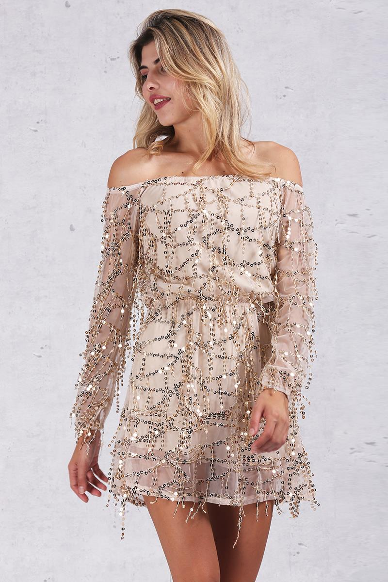 Dreaming Big off shoulder sequin tassel vintage dress/romper