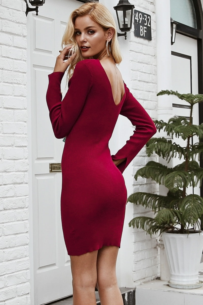 Lipstick Kiss Knit Sweater Dress