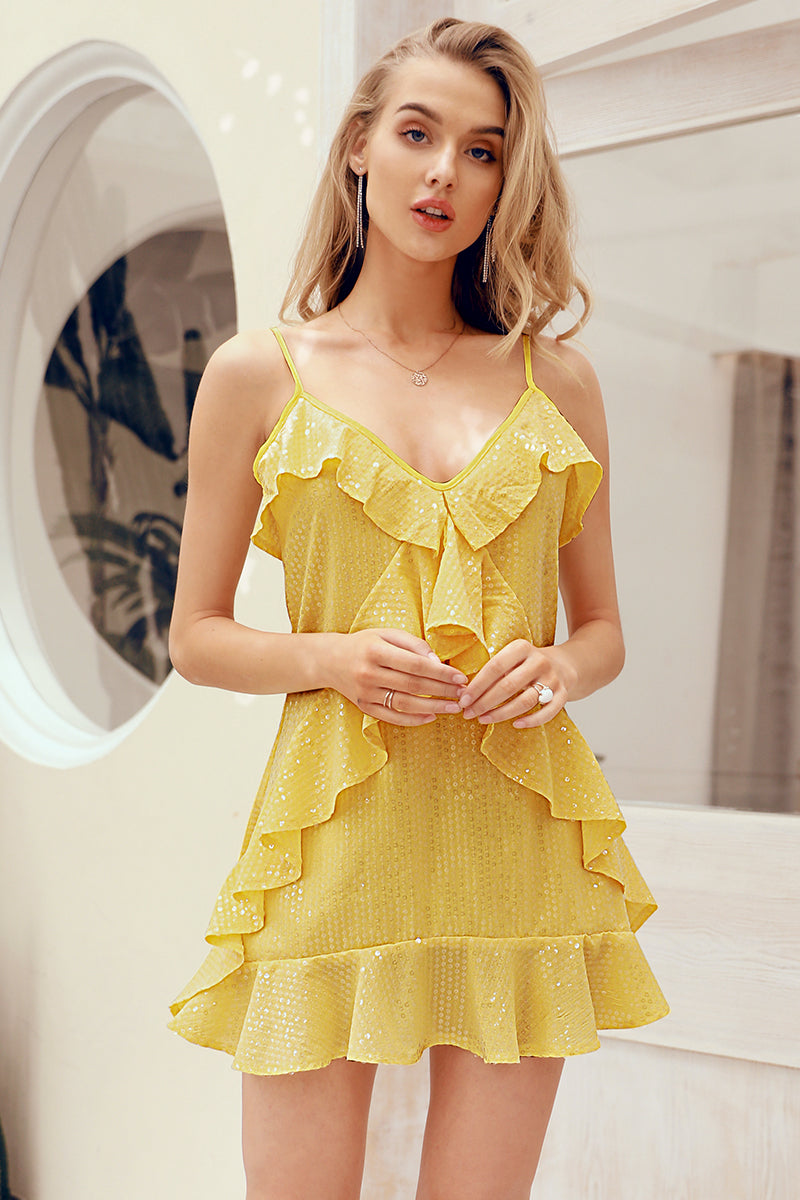 Sunshine Lemon Mini Dress