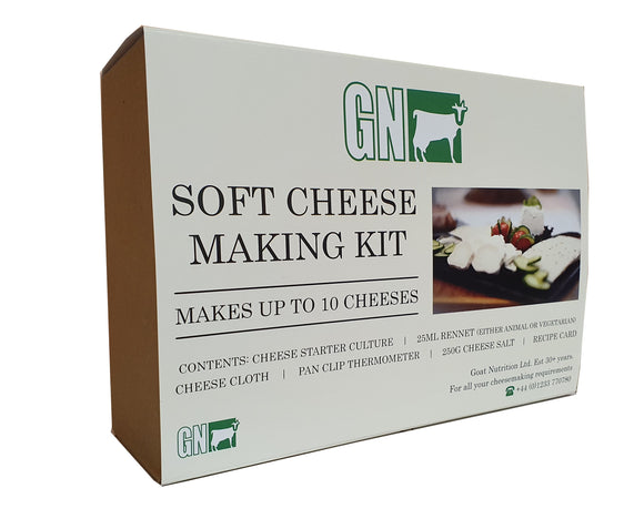 Cheese Making Kit - Vegetarian Rennet, Culture, Cheesecloth, Thermometer & Cheese Salt