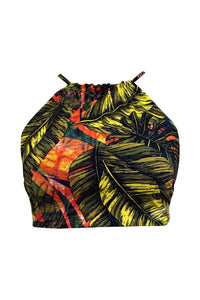 Reversible Halterneck Top Back Tie in Black Color and Tropical Print