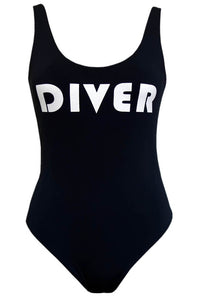 Reversible Swimsuit in Black Color and Printed - DIVER