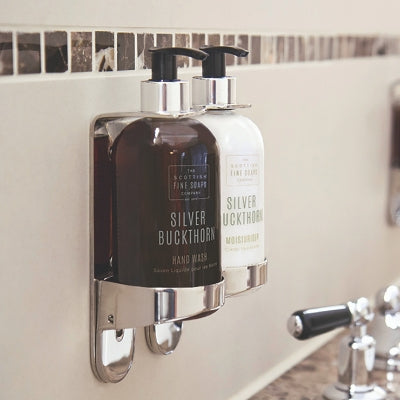 Stainless Steel Double 300ml Bottle Holder Wall Mounted