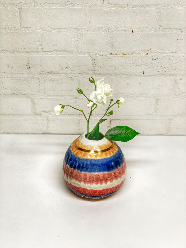 Gold Stripe Medium Vase