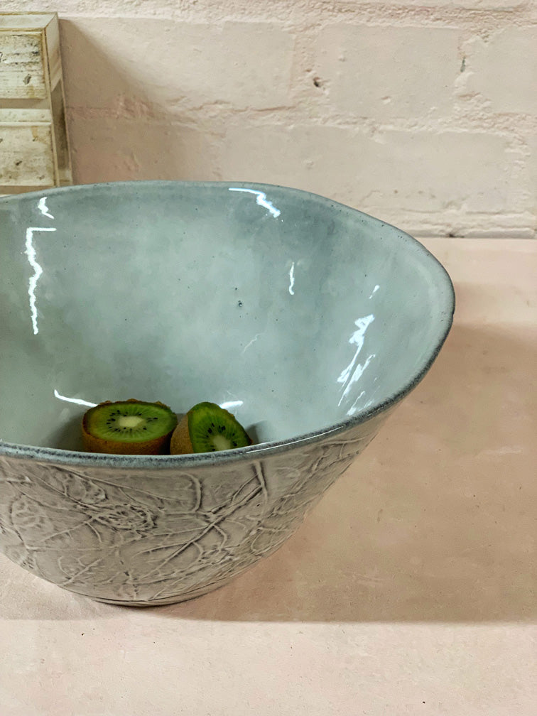 Grey Leafs Large Serving Bowl