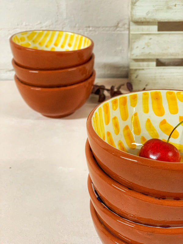 Luana Ring Bowl (Red Clay, Yellow Pattern)
