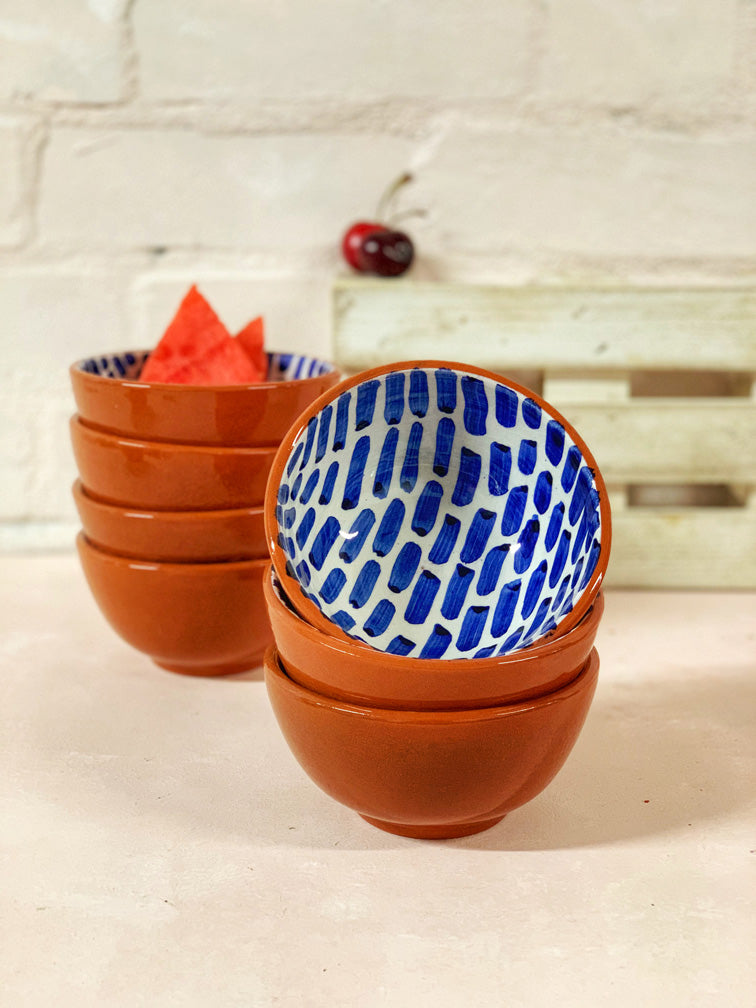 Luana Ring Bowl (Red Clay, Blue Pattern)