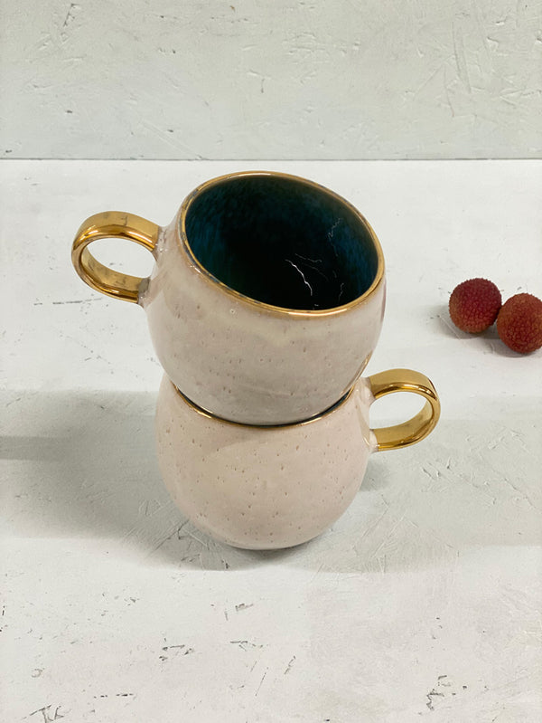 Matilde Large Mug (gold rim and handle)