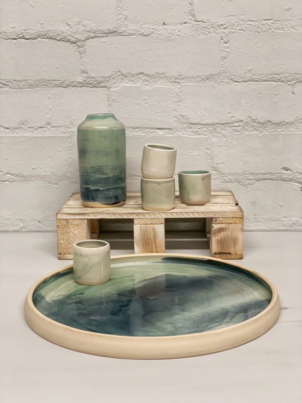 Bisila Light Green Artisan Plate (Two Pieces)