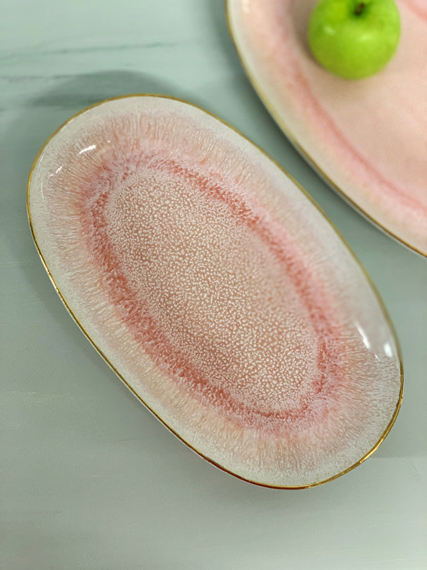 Catarina Medium Serving Platter (Pink Glaze & Gold Rim)