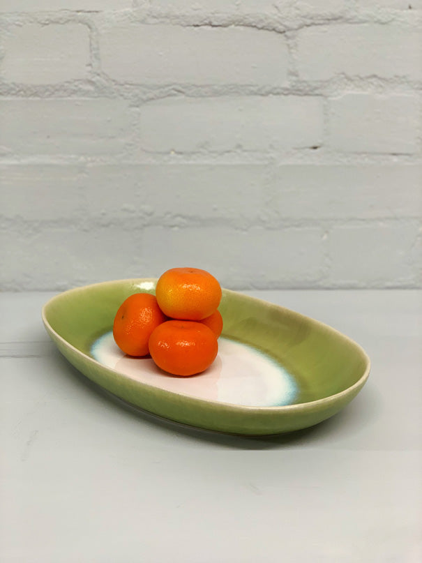 Catarina Large Serving Platter (Green White Glaze)