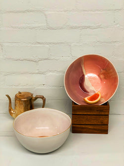 Anna (Pink Glaze & Gold Rim) Large Serving Bowl