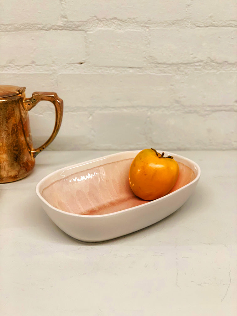 Anna (Pink Crackle Glaze) Deep Serving Platter