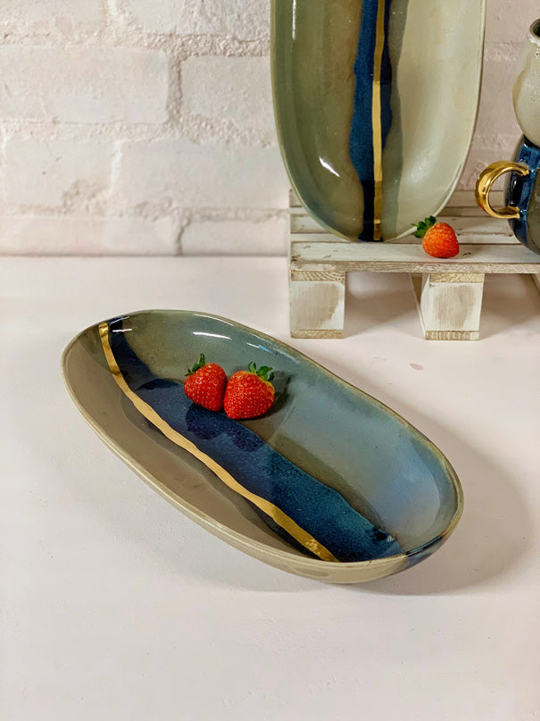 Lola Medium Serving Platter with Gold Details