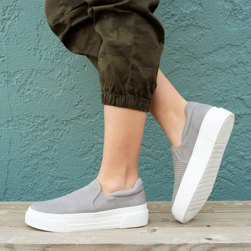 Gray Slip-on Platform Sneaker
