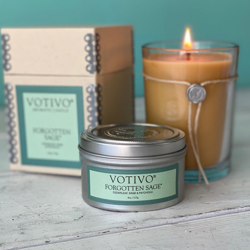 Votivo Candle and Tin - Forgotten Sage