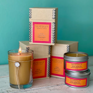 Votivo Candle and Tin - Pink Mimosa