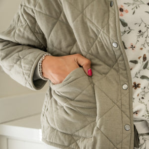 Quilted Jacket in Washed Olive