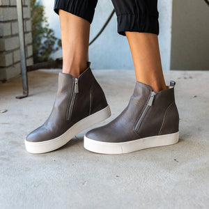 Sky Hidden Wedge Grey Bootie