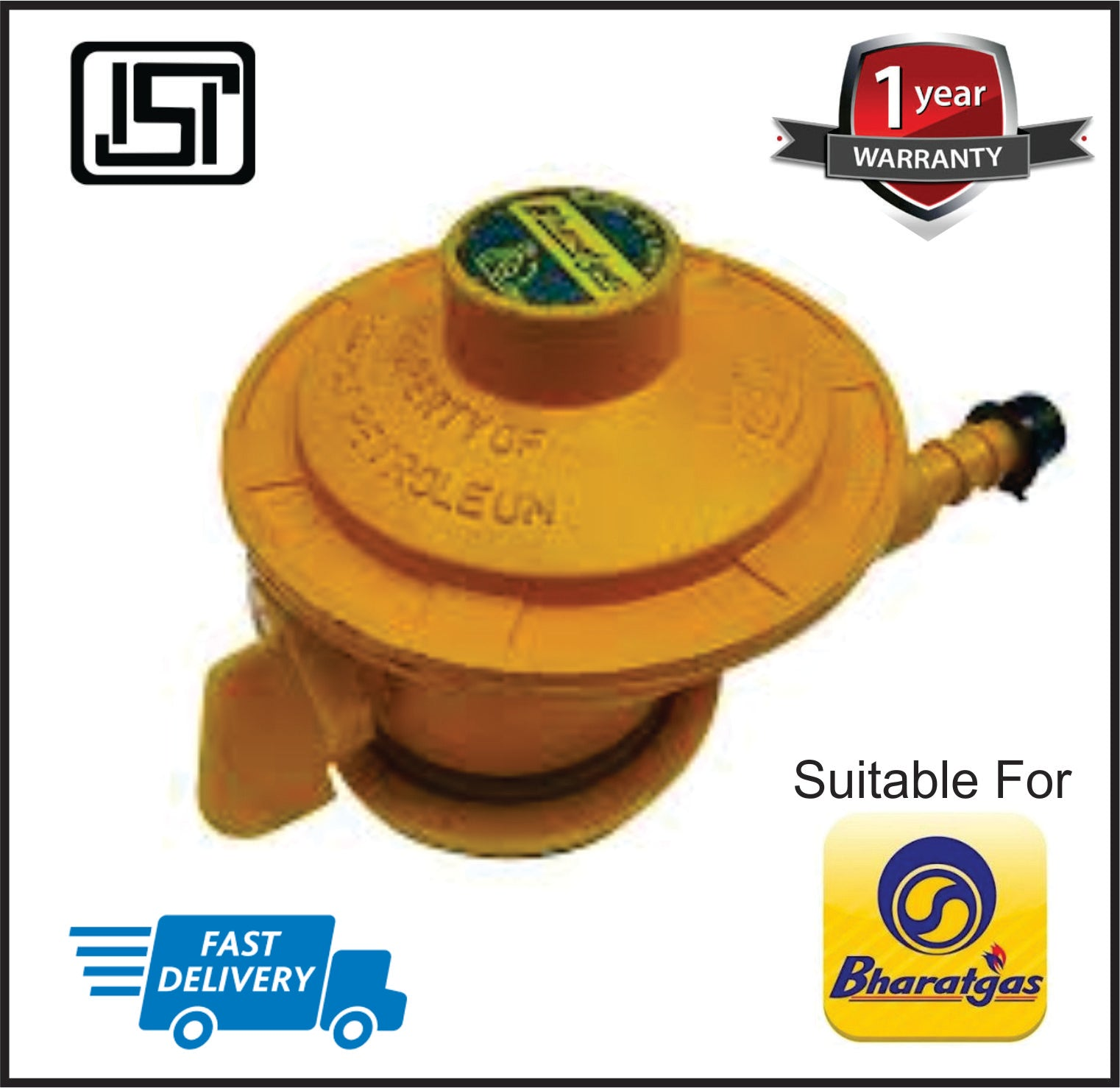 LPG Low Pressure Gas Regulator Suitable for Bharath Gas Cyclinder  (Yellow Color)