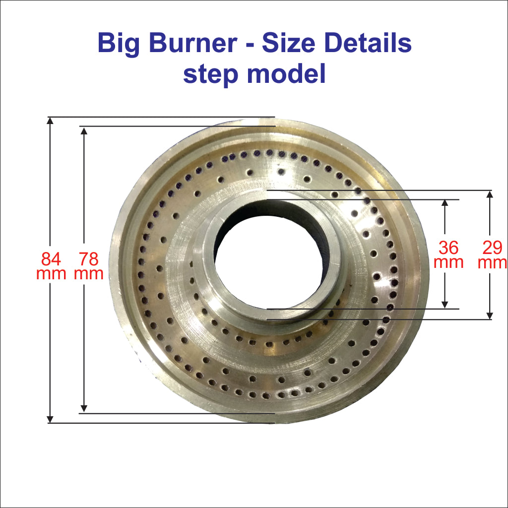 All the Type Gas Stove Bross Burner (small and big) Burner Dia Measurements Given