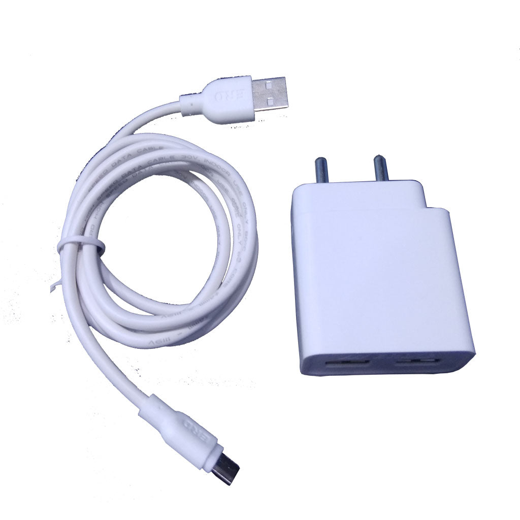 Dual USB Super Fast Charger with USB Cable for All Smart Phones (White)