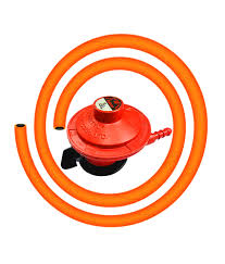 Home Gas Cylinder On/Off Regulator with Surakhsha LPG Rubber Hose Pipe (Steel Wire)
