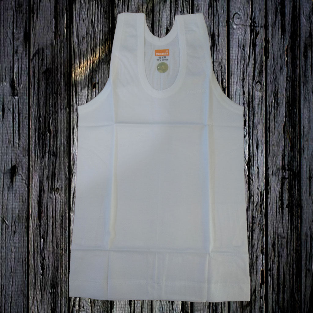 Poomex Premium Kids Vest - White - Sleeveless
