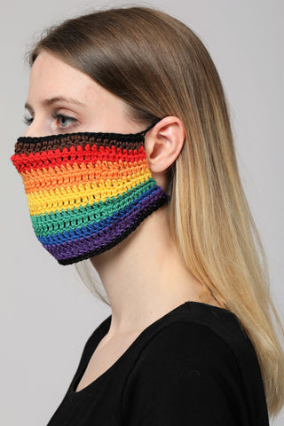 KNITTED RAINBOW MASK.