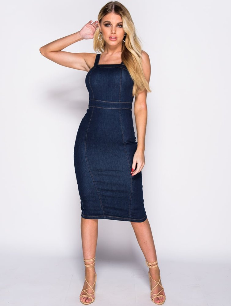 Stretch Denim Midi Dress