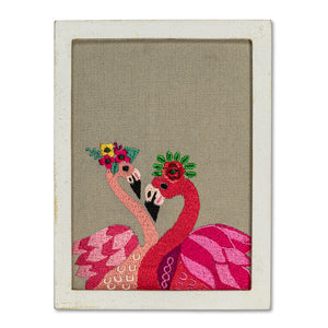 Flamingo Embroidered Art