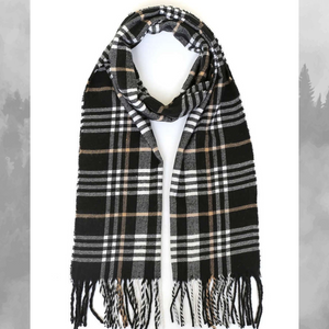 Plaid Scarf- Black/White/Tan Plaid