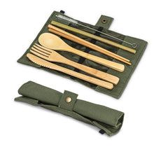 Load image into Gallery viewer, Bamboo Travel Cutlery- Green