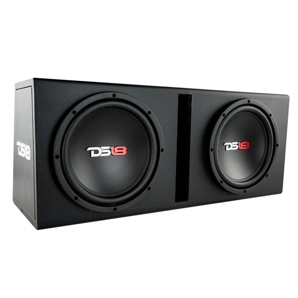 "BASS PACKAGE 2 x 10"" SUBWOOFER IN MDF ENCLOSURE WITH AMPLIFIER AND INSTALLATION KIT 1200 WATTS LOADED"
