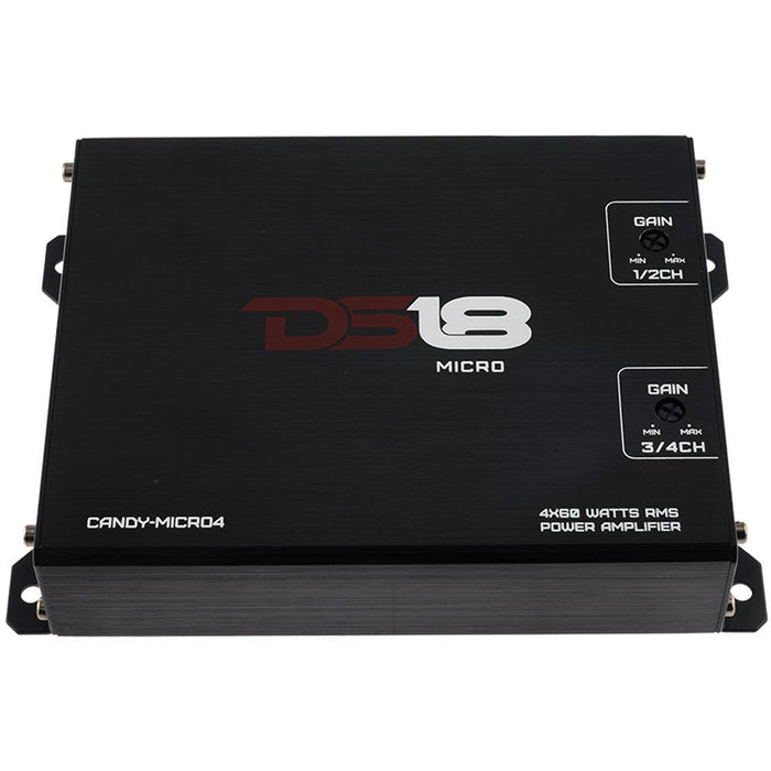 CANDY MICRO FULL RANGE CLASS D 4 CHANNEL AMPLIFIER 160 WATTS WITH AUX INPUT