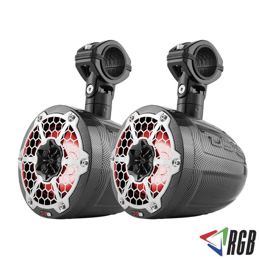 "HYDRO 6.5"" SLIM WAKEBOARD POD TOWER SPEAKER WITH INTEGRATED RGB LED LIGHTS 375 WATTS BLACK CARBON FIBER (PAIR)"