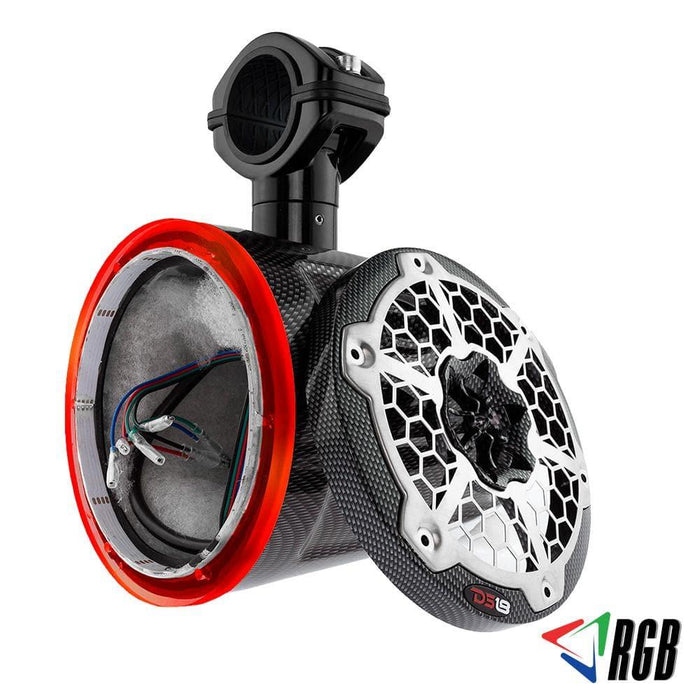 "HYDRO 6.5""  WAKEBOARD POD TOWER WITH INTEGRATED RGB LED LIGHTS BLACK CARBON FIBER (SINGLE) (NO SPEAKERS)"