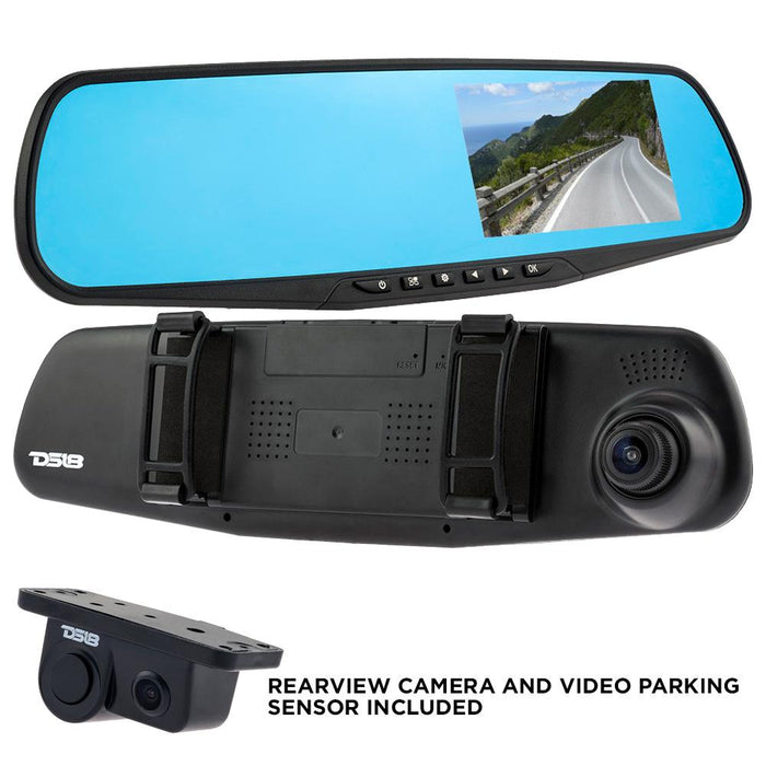 "REARVIEW MIRROR WITH 4.3"" HD LCD DISPLAY BUILT-IN 1080P DASH CAM RECORDER, REVERSE CAMERA WITH PARKING SENSOR"