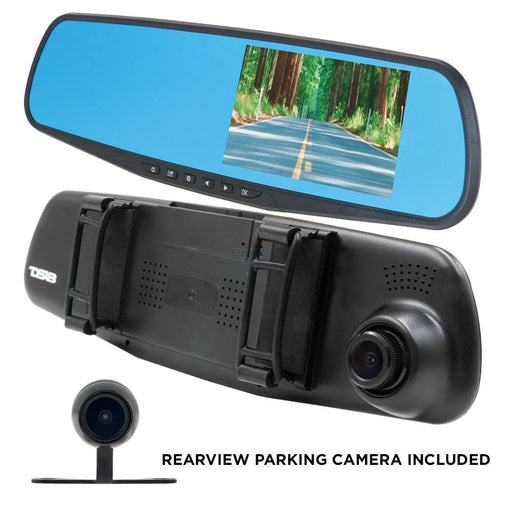 "REARVIEW MIRROR WITH 4.3"" HD LCD DISPLAY, BUILT IN 1080P DASH CAM RECORDER AND REVERSE CAMERA"