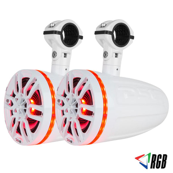 "HYDRO 8"" 2-WAY MARINE WAKEBOARD POD TOWER SPEAKERS WITH 1.5"" COMPRESSION DRIVER AND INTEGRATED RGB LIGHTS 550 WATTS (PAIR)"