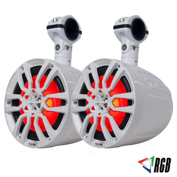 "HYDRO 6.5"" SLIM WAKEBOARD POD TOWER SPEAKER WITH INTEGRATED RGB LED LIGHTS 300 WATTS (PAIR)"