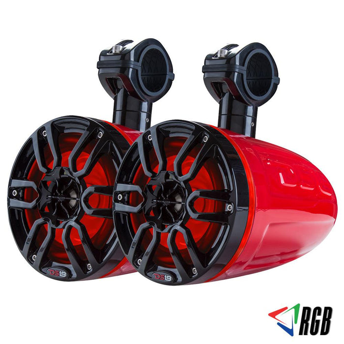 "HYDRO 6"" WAKEBOARD POD TOWER SPEAKER WITH INTEGRATED RGB LED LIGHTS 300 WATTS (PAIR)"