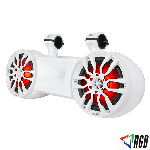 "WHITE HYDRO 8"" DOUBLE WAKEBOARD POD TOWER SPEAKER WITH 1.35"" DRIVER AND INTEGRATED RGB LED LIGHTS 900 WATTS"