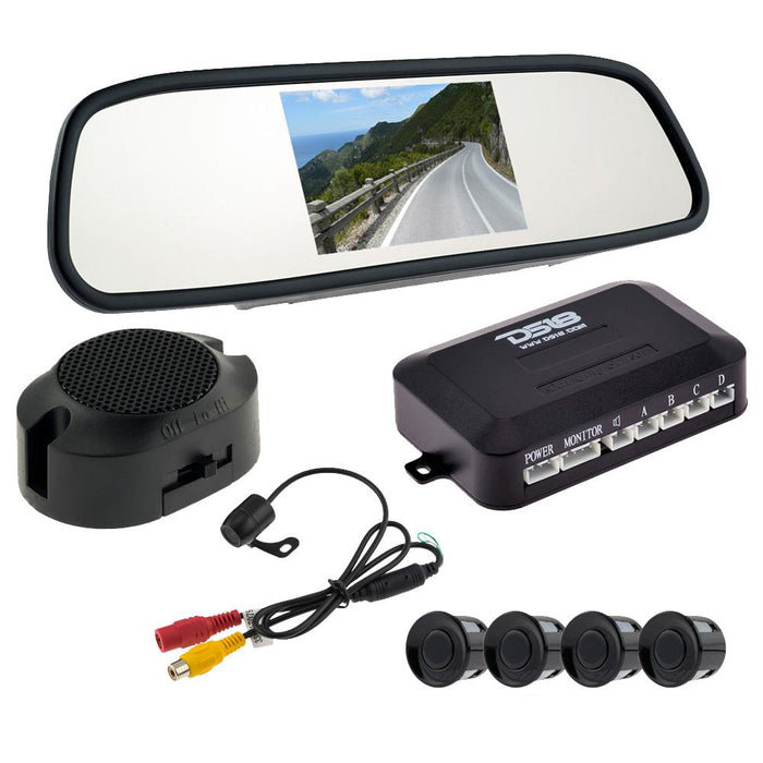 PACKAGE INCLUDES REAR VIEW MIRROR, 4 REVERSE BACKUP SENSORS AND REVERSE CAMERA