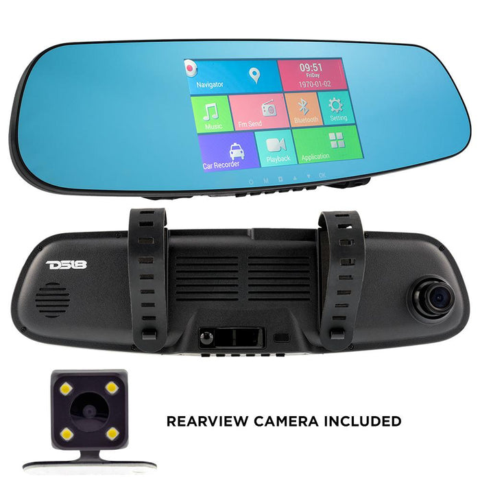 "REARVIEW MIRROR DUAL CAMERA 4.3"" HDC LCD TOUCH SCREEN 1080P DASH CAM RECORDER, UNIVERSAL MOUNT, ANDROID SYSTEM, WIFI"