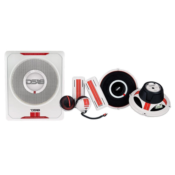 "SQ PACKAGE INCLUDES: 8"" AMPLIFIED SUBWOOFER, 6.5"" 2-WAY COMPONENT SYSTEM AND INSTALLATION KIT"