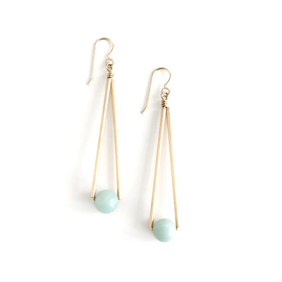 Amazonite Long Triangle and Ball Earrings
